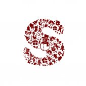 Christmas alphabet S on White Background — Stock Vector