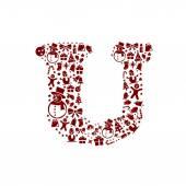 Christmas alphabet U on White Background — Stock Vector