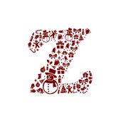 Christmas alphabet Z on White Background — Stock Vector
