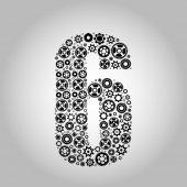 Alphabet - Gear-number 6 — Stock Vector
