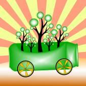 Trees and green aluminium cans ,green concepts ,vector illustrat — Stock Vector