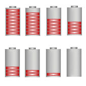 Set of vector battery icons with level of charging — Stock Vector