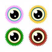 Gear eye symbol icon set. Vector, Flat design — Stock Vector
