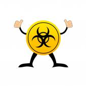 Bio-hazard symbol on a yellow button — Stock Vector