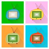 Retro tv set vector icon. — Stock Vector