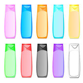 Vector illustration of bottle of shampoo of different colors — Stock Vector