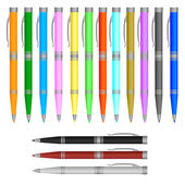 Set of pens, isolated of white, raster version — Stock Vector