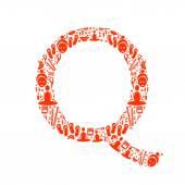 Abstract vector alphabet - Q made from Icon Spa - alphabet set. — Stock Vector