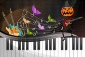 Pumpkin-headed skeleton, playing guitar. — Stock Vector