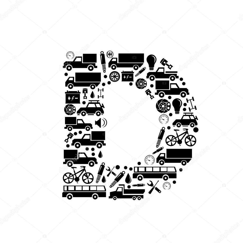 抽象矢量字母-d 由汽车图标-字母集