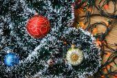 Christmas balls and garlands — Stock Photo