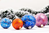 Christmas balls. Garland and Christmas in background. — Foto de Stock