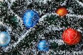 Christmas balls and garland — Stock Photo