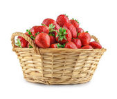 Strawberries in a basket isolated — Stock Photo
