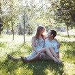 Happy lovers in Park — Stock Photo #66355005