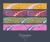Banners with four seasons — Stock Vector