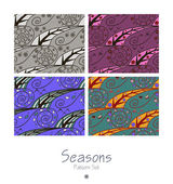 Set of seamless patterns with four seasons — ストックベクタ