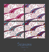 Set of seamless patterns with four seasons — Stock Vector