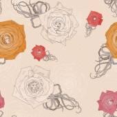 Modèle vecteur transparente avec roses dessin abstrait — Vecteur