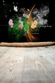 Wooden table with background — 图库照片