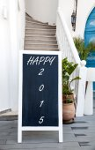 Blackboard advertising happy 2015 — ストック写真
