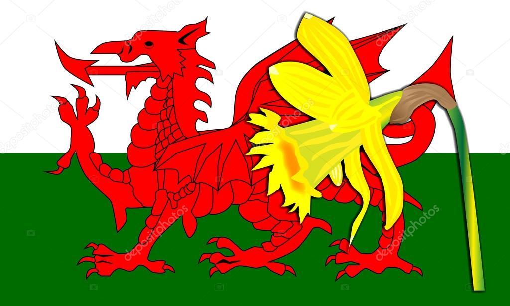 drapeau du dragon gallois jonquille illustration