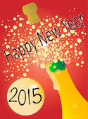 New Years Bottle 2015 — Stock Vector