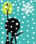 Poste de luz em the Snow — Vetor de Stock