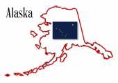 Alaska State Map and Flag — Stockvector