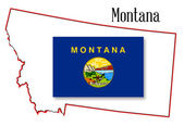 Montana State Map and Flag — Cтоковый вектор