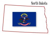 North Dakota State Map and Flag — Stock Vector