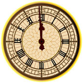Big Ben Midnight Clock Face — Stock Vector