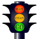 Ready Steady Go Traffic Lights — Stock Vector