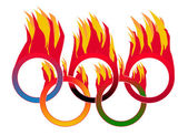 Flame Olympic Rings — Stockvektor