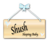 Shush Sleeping Baby Sign — Stock Vector