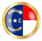North Carolina  Flag Button — Stock Vector