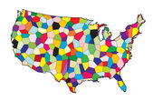 USA Flag Map Patchwork — Stock Vector