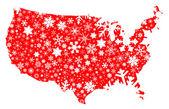América mapa Navidad — Vector de stock