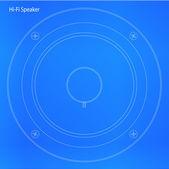 Ahoj Fi reproduktoru kužel Blueprint — Stock vektor