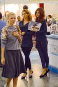 5th International Exhibition of underwear, beachwear, home wear and hosiery Lingrie Expo Moscow Aututumn September Young womens. Traffic — Stock Photo