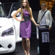 Постер, плакат: Moscow International Automobile Salon Young Women in violent Dress from Infiniti Team