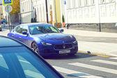 Dark blue Maserati on the street in Moscow — Zdjęcie stockowe