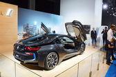 Premiere Moscow International Automobile Salon BMW i8 With raised upstairs doors Russia Shine — Stockfoto