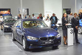 BMW third series. Traffic Moscow Desire Moscow Desire Moscow International Automobile Salon — Стоковое фото