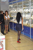 JUNWEX Moscow 2014 Showcases with jewelry Womens — Stock Photo