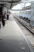 Subway. Arriving by train Moscow. Metro Station Kuncevo Platform. Subway August — Stock Photo