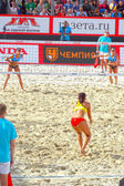 2015 Moscow Gland Slam Tournament Beach Volleyball Match for 3rd place Italy - China — Stock Photo