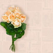 Roses bouquet isolated on a vintage background — Stock Photo