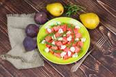 Watermelon, cheese and rocket salad — Stock Photo