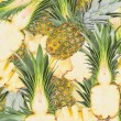 Abstract background with slices of fresh pineapple. Seamless pattern for a design. Close-up. Studio photography. — Stock Photo #59882907
